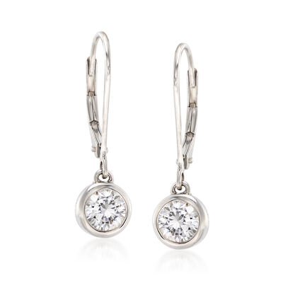 1.00 ct. t.w. Bezel-Set Diamond Drop Earrings in 14kt White Gold, , default