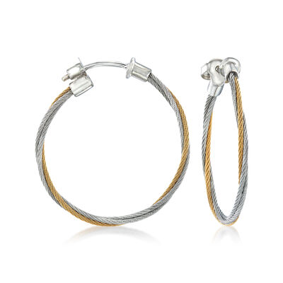 "ALOR ""Classique"" Yellow and Gray Stainless Steel Cable Hoop Earrings with 18kt White Gold, , default"