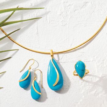 Turquoise Teardrop Pendant in 14kt Yellow Gold, , default