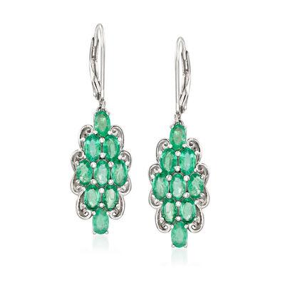 4.10 ct. t.w. Emerald Drop Earrings in Sterling Silver, , default