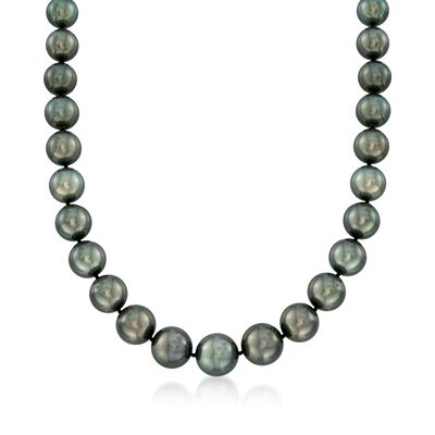 12-15mm Black Cultured Tahitian Pearl Necklace with Diamond Accent and 14kt White Gold, , default