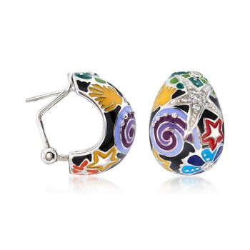 "Belle Etoile ""Starfish"" Black and Multicolored Enamel Half-Hoop Earrings with CZs in Sterling Silver. 5/8"", , default"