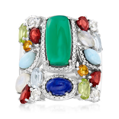 2.48 ct. t.w. Multi-Gem Ring in Sterling Silver
