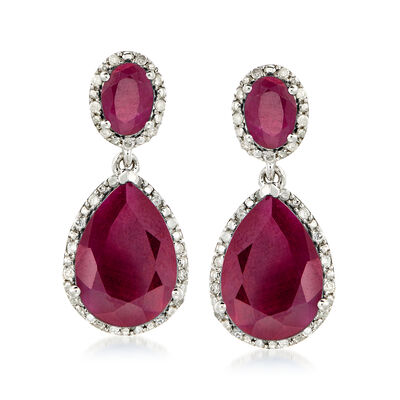 12.90 ct. t.w. Ruby and .35 ct. t.w. Diamond Drop Earrings in Sterling Silver
