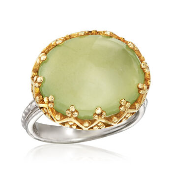 Prehnite Ring in Two-Tone Sterling Silver