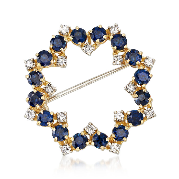 C. 1980 Vintage 3.40 ct. t.w. Sapphire and .65 ct. t.w. Diamond Circle Pin in 18kt Yellow Gold, , default