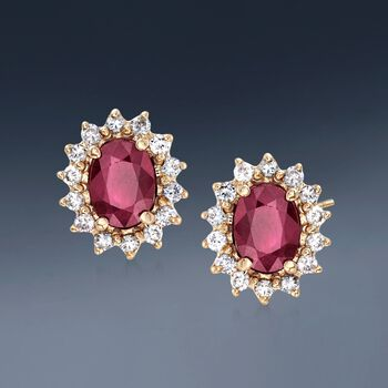 2.00 ct. t.w. Burmese Ruby and .56 ct. t.w. Diamond Stud Earrings in 14kt Yellow Gold