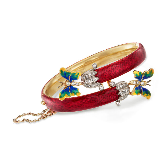 """C. 1960 Vintage .80 ct. t.w. Diamond Butterfly Bypass Bangle Bracelet in 14kt Gold with Multicolored Enamel. 6.5"""", , default"""