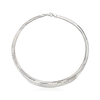 Italian Sterling Silver Diamond-Cut Cleopatra Necklace, , default