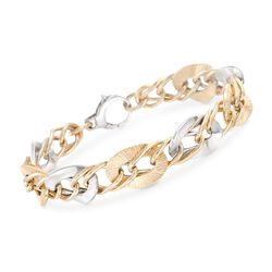 Italian 14kt Two-Tone Gold Pleated and Polished Link Bracelet, , default