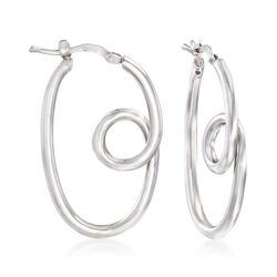 "Italian Sterling Silver Twisted Hoop Earrings. 1 1/4"", , default"