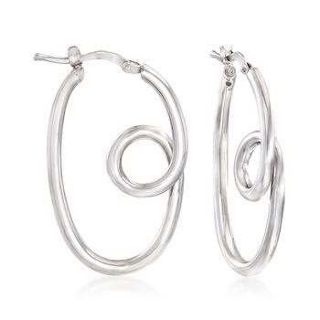 "Italian Sterling Silver Twisted Hoop Earrings. 1 1/4"", , default"