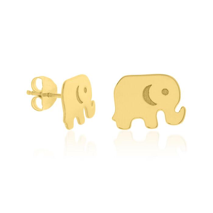 14kt Yellow Gold Baby Elephant Stud Earrings