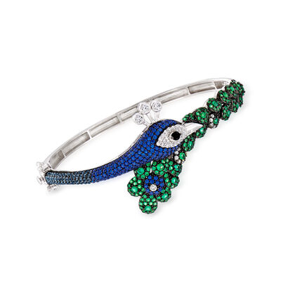 4.25 ct. t.w. Multicolored CZ Peacock Bangle Bracelet in Sterling Silver, , default