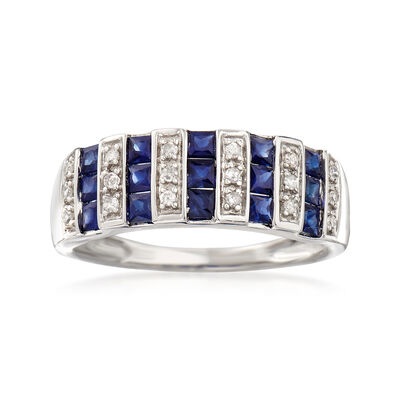 .80 ct. t.w. Sapphire and .12 ct. t.w. Diamond Ring in 14kt White Gold, , default