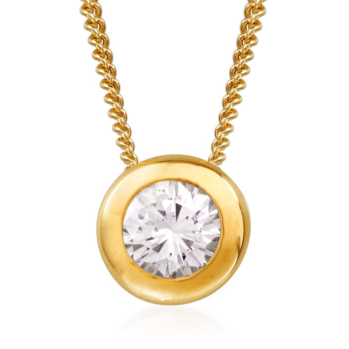 "C. 1990 Vintage .40 Carat Bezel-Set Diamond Solitaire Necklace in 14kt Yellow Gold. 18"", , default"