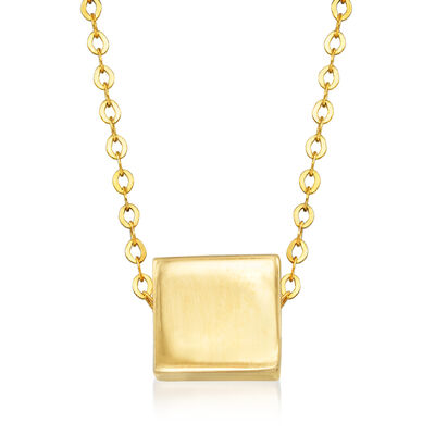 Italian 14kt Yellow Gold Square Necklace
