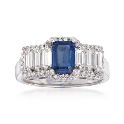 1.15 Carat Sapphire and 1.12 ct. t.w. Diamond Ring in 14kt White Gold