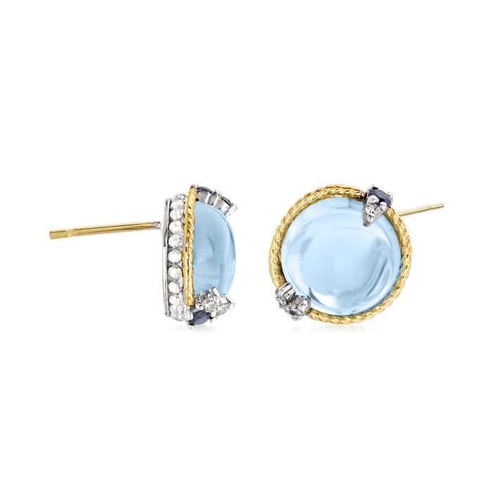 """Andrea Candela """"Dulcitos"""" 9.84 ct. t.w. Swiss Blue Topaz and .20 ct. t.w. Sapphire Earrings in Sterling Silver and 18kt Yellow Gold"""