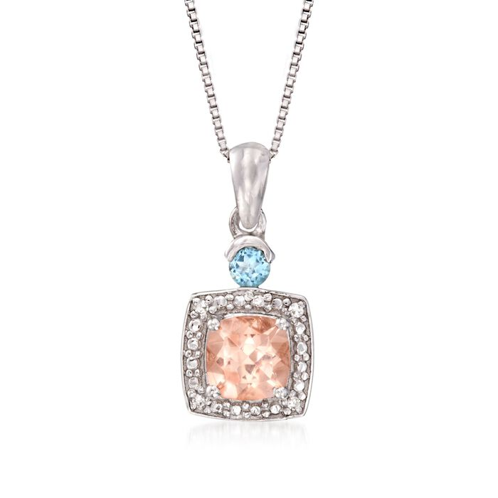 ".90 Carat Morganite And.10 Carat Aquamarine Pendant Necklace in Sterling Silver. 18"", , default"