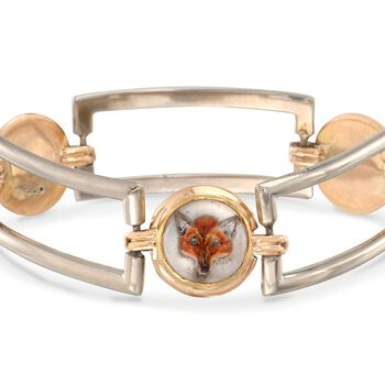 "C. 1940 Vintage J.E. Caldwell Hunting Scene Crystal Bracelet in 14kt and 18kt Gold. 7"", , default"