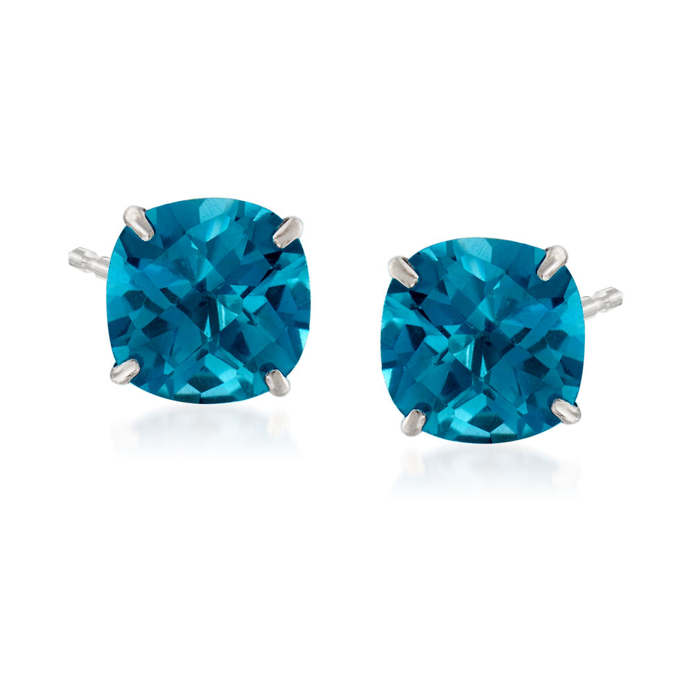 T W London Blue Topaz Stud Earrings In 14kt White Gold Default
