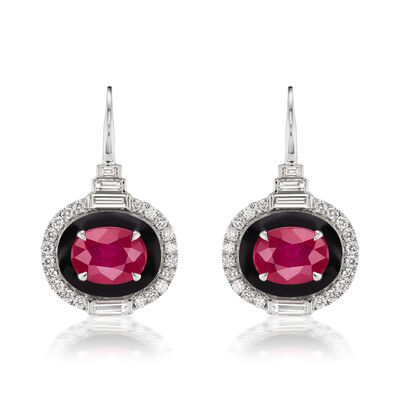 3.20 ct. t.w. Ruby and .95 ct. t.w. Diamond Drop Earrings in 18kt White Gold with Black Enamel