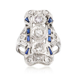C. 1940 Vintage .70 ct. t.w. Diamond and .25 ct. t.w. Synthetic Sapphire Dinner Ring in 18kt White Gold. Size 6.5, , default