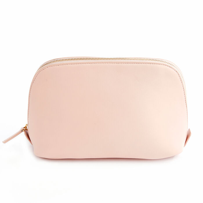 Royce Blush Pink Leather Cosmetic Bag