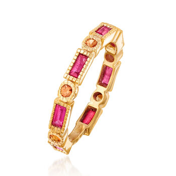 .90 ct. t.w. Ruby and .20 ct. t.w. Orange Sapphire Ring in 14kt Yellow Gold Over Sterling Silver. Size 6, , default