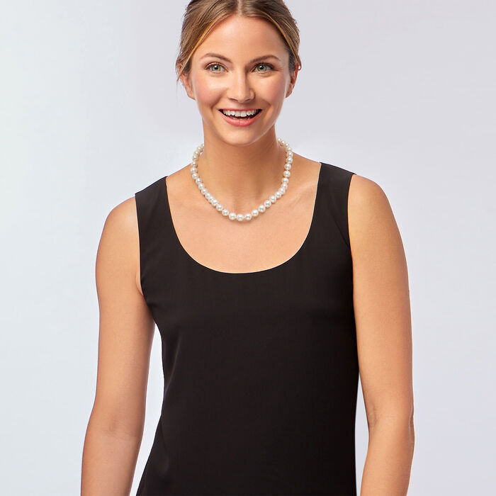 10-11mm Cultured Pearl Necklace with 14kt Yellow Gold 18-inch