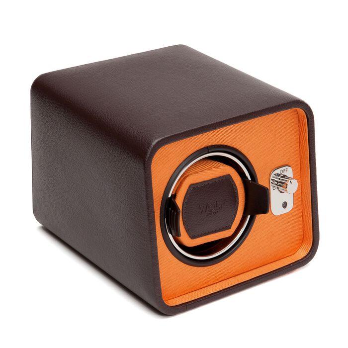"""Windsor"" Brown and Orange Single Watch Winder by Wolf Designs, , default"