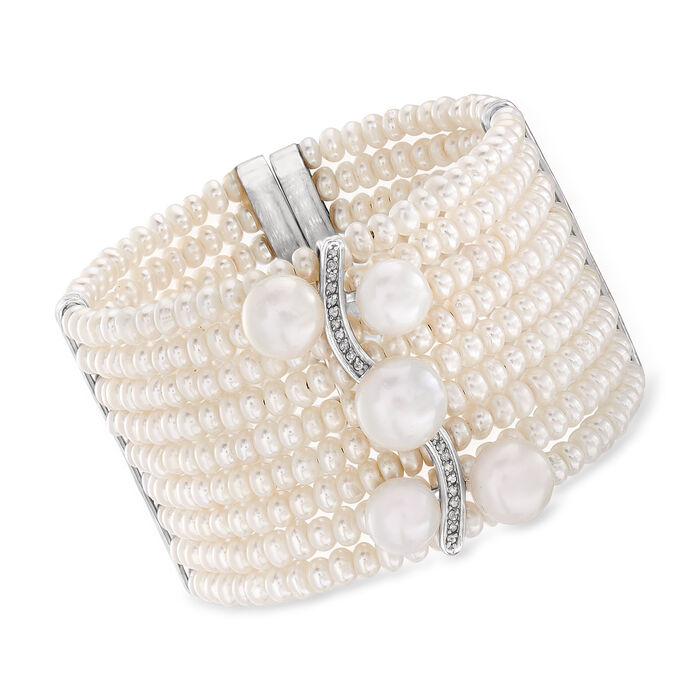 4-11.5mm Cultured Pearl and .18 ct. t.w. Diamond Cuff Bracelet in Sterling Silver, , default