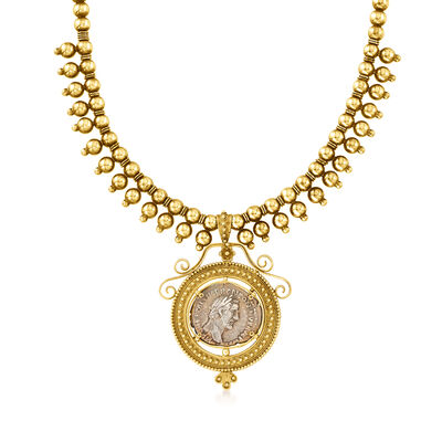 C. 1950 Vintage 18kt and 15kt Yellow Gold Roman Coin Pendant Necklace with 14kt Gold