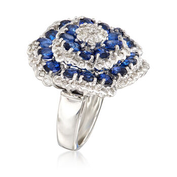 C. 2000 Vintage 5.50 ct. t.w. Sapphire and 1.00 ct. t.w. Diamond Cluster Ring in Platinum. Size 6, , default