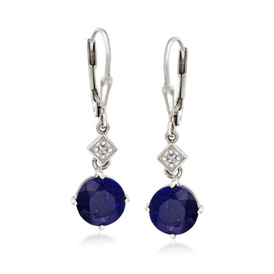 4.80 ct. t.w. Sapphire Drop Earrings with Diamond Accents in Sterling Silver