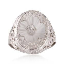 C. 1950 Vintage Rock Crystal Milgrain Ring With Diamond Accents in 14kt White Gold. Size 6.5, , default