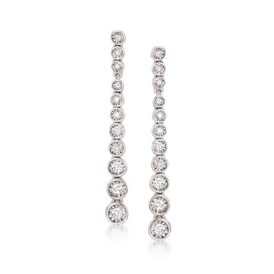 .50 ct. t.w. Bezel-Set Diamond Drop Earrings in Sterling Silver, , default