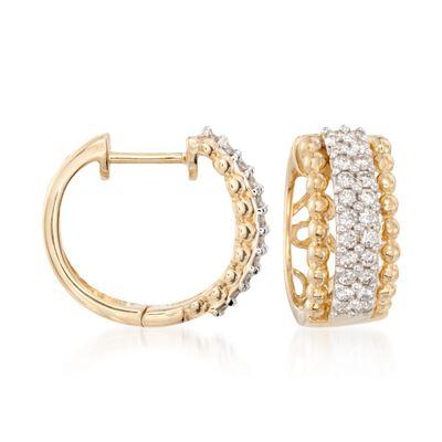 .66 ct. t.w. Diamond Huggie Hoop Earrings in 14kt Two-Tone Gold, , default