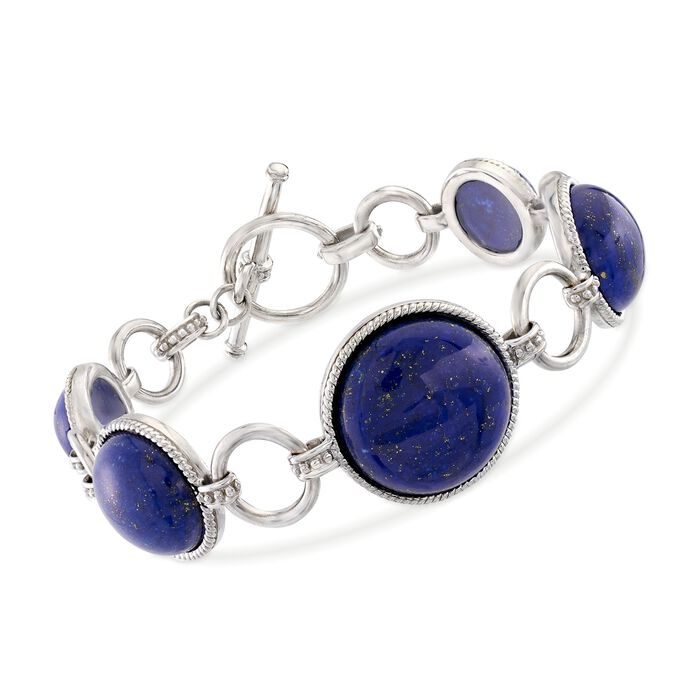 "Graduated Lapis Circle Bracelet in Sterling Silver. 7"", , default"