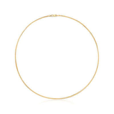 Italian 2mm 18kt Gold Over Sterling Omega Necklace