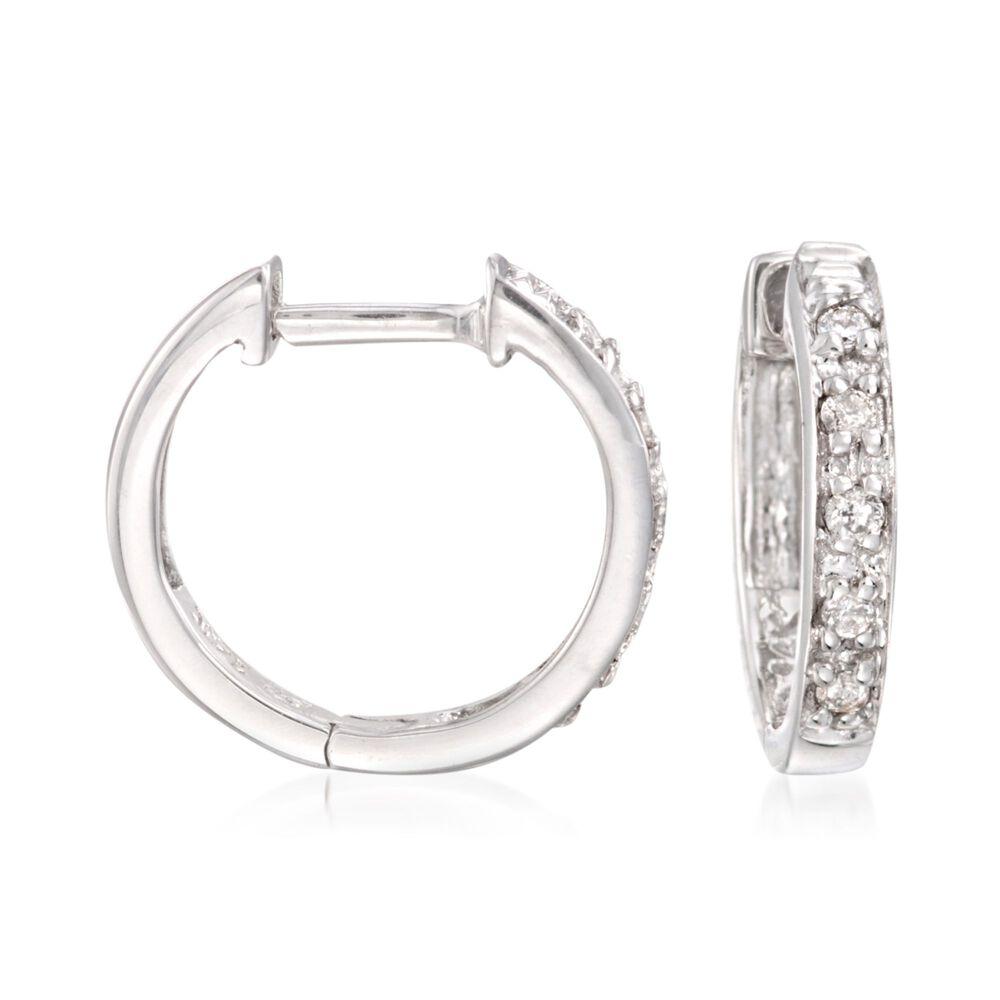 Diamond Accent Huggie Hoop Earrings In 14kt White Gold 3 8