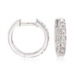 "Diamond Accent Huggie Hoop Earrings in 14kt White Gold. 3/8"", , default"