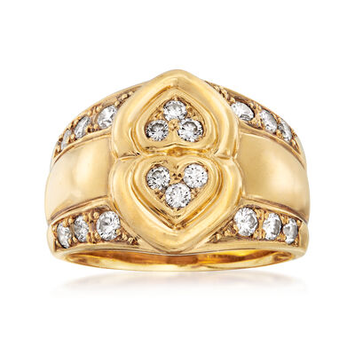 C. 1980 Vintage Dior .50 ct. t.w. Diamond Double-Heart Ring in 18kt Yellow Gold, , default