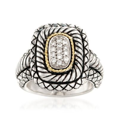 Andrea Candela .18 ct. t.w. Pave Diamond Ring With 18kt Yellow Gold in Sterling Silver, , default
