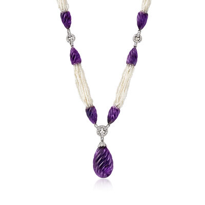C. 1980 Vintage 150.00 ct. t.w. Amethyst, 1.25 ct. t.w. Diamond and Seed Pearl Multi-Strand Drop Necklace in Platinum