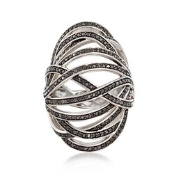 1.70 ct. t.w. Black Spinel Open Crisscross Bombe Ring in Sterling Silver, , default