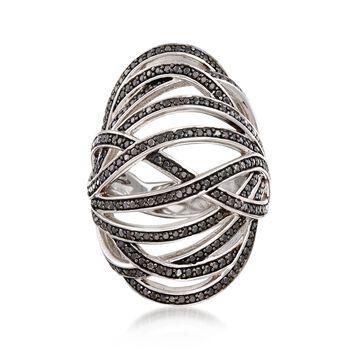 1.70 ct. t.w. Black Spinel Open Crisscross Bombe Ring in Sterling Silver, , default