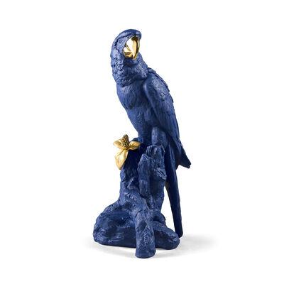 Lladro Blue and Gold Porcelain Macaw Bird Figurine, , default