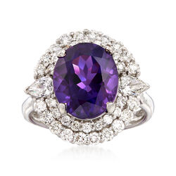 C. 1980 Vintage 5.30 Carat Amethyst and 1.40 ct. t.w. Diamond Ring in 18kt White Gold, , default
